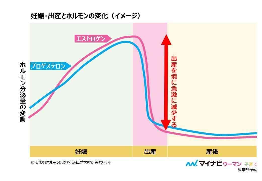 出産を機に、女性ホルモンは急激に減少する(イメージ)
